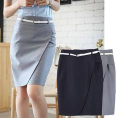 Free Shipping Fashion S-XL Black Gray Color Ruffles Solid Color Career Lady Skirt Women's Skirt 94771