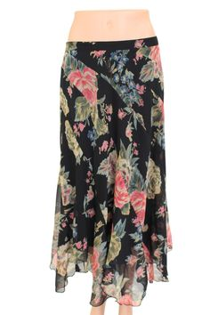 Soft Surroundings Summer Floral Print Flowing Skirt Size PM