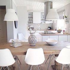 Uma bela cozinha para começo do dia. Adorei o vaso. (Desconheço a autoria - imagem da web) #inspiração #arqsteinleitao #cozinha #branco #interior http://ift.tt/29juuJk