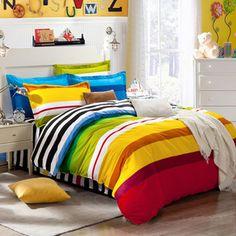 bedding sets 4pcs stripe duvet quilt cover for king queen full twin size bedclothes 100%cotton cartoon bed linen kids bedsheet