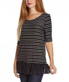 Black & White Stripe Knit Sweater #zulily #zulilyfinds