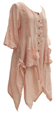 Ladies Womens Italian Lagenlook Quirky Button Lace Tunic One Size Dress Top Shirt (One Size, Light Pink): Amazon.co.uk: Clothing