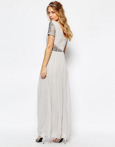 Maya | Maya Cap Sleeve Maxi Dress with Embellished Waist Detail at ASOS