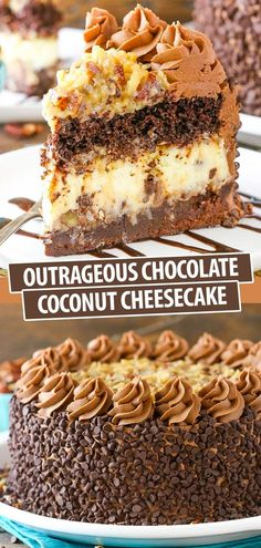 This Outrageous Chocolate Coconut Cheesecake recipe has layers of gooey brownie, coconut chocolate chip cheesecake, rich chocolate cake and coconut pecan filling. It's an over-the-top dessert of pure deliciousness! Best Chocolate Cheesecake, Coconut Cheesecake, Cheesecake Cake, Cheesecake Recipes, Dessert Recipes, Coconut Pecan, Coconut Chocolate, Chocolate Frosting, Mini Chocolate Chips