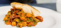Oven Baked Fillet of Hake with Chorizo and Chick peas Baked Hake Recipes, Chorizo Recipes, Fish Recipes, Chickpea Stew, Spicy Sausage, Fish Dishes, Recipe Today, Oven Baked, Fish And Seafood