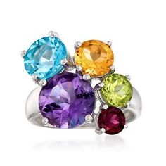 Ross-Simons - 8.40 ct. t.w. Multi-Stone Cluster Ring in Sterling Silver - #830575