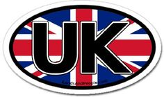 """United Kingdom UK and British Flag Car Bumper Sticker Oval:   United Kingdom Great Britain UK Flag Car Bumper Sticker Decal Oval 3"""" x 5"""" (7.6 cm x 12.7 cm); Oval type country auto stickers are widely used in Europe and are required by some European governments as country identifications at border crossings; Our stickers are printed on 4mil vinyl; Measures 3"""" x 5"""" (7.6 cm x 12.7 cm) oval; Printed on durable 4 mil vinyl; Be careful when placing sticker on vehicle; To avoid air bubbles st..."""