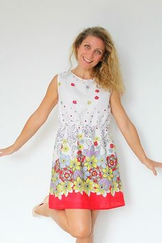 Sew yourself a pretty dress with gathered waist. Get the free ladies dress pattern which is suitable for all levels of sewing skills.