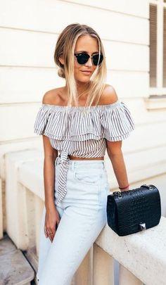 cool outfit: off shoulder top + jeans + bag