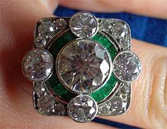 ~` diamond emerald ring `~