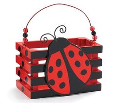 Amazon.com: Adorable Ladybug With Hearts Wood Crate For Home Decor, Party Favor Or Decoration: Home & Kitchen