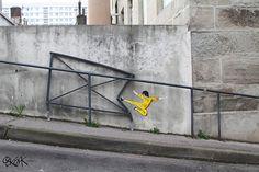 Intervenções artísticas que interagem com as ruas de Saint Etienne, França