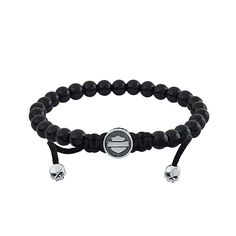 Thierry Martino Jewelry Harley-Davidson® silver bracelet with onyx beads.