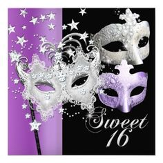 Sweet 16 Masquerade Party Ideas | Masquerade Sweet Sixteen Sweet 16 Lilac Black Custom Invitation from ...