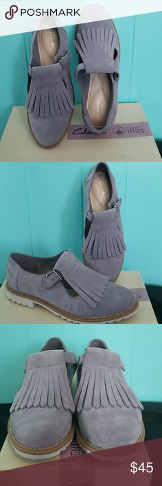 *1HR Sale*EUC Clarks Griffin Mia-Grey/Blue Suede Great shoes and love them but my feet is just too wide for it. Only worn once for like 5hrs walking around downtown Chicago. Comfort/cushioned sole. Great to wear now and to transition into fall. Clarks Shoes
