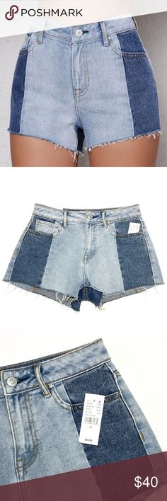 """PacSun Kazu Blue High Rise Cutoff Denim Shorts Add a little something extra to your outfit with these colorblock denim shorts. The Kazu Blue High Rise Cutoff Denim Shorts have a chic throwback look, frayed hem, contrast paneling and rigid fabrication. * PacSun Kazu Blue High Rise Cutoff Denim Shorts * Mid-blue wash with contrast paneling * Frayed hem * Button closure, zip fly * 100% cotton * Size 24 * Approx. measurements: 27"""" waist (13.5"""" across), 2.5"""" inseam, 10.5"""" length, 10"""" rise * New…"""