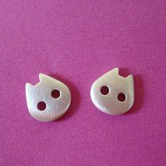 Cat Stud Earrings sterling silver Kids Earrings by zoozjewelry, $32.00