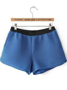 Blue Elastic Waist Hollow Net Shorts - Sheinside.com
