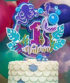 Diy Cake Topper, Unicorn Cake Topper, Edible Cake Toppers, Birthday Cake Toppers, Cupcake Toppers, Cricut Cake, Mermaid Theme Birthday, Little Mermaid Parties, Birthday Backdrop