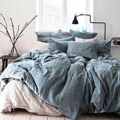 Luxury Bedding Sets On Sale Blue Bedroom, Cozy Bedroom, Bedroom Inspo, Dream Bedroom, Master Bedroom, Bedroom Decor, Master Suite, Bedding Decor, Dorm Bedding
