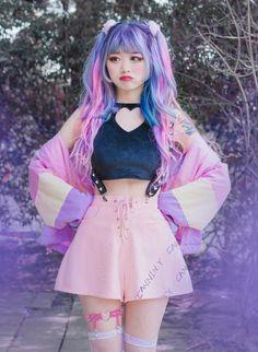 New Ideas For Moda Japonesa Juvenil Kawaii Pastel Goth Outfits, Pastel Goth Fashion, Pastel Outfit, Kawaii Fashion, Lolita Fashion, Cute Fashion, Fashion Outfits, Pastel Goth Style, Pastel Goth Hair