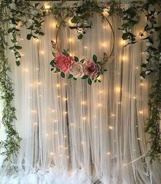 Diy Wedding Backdrop, Wedding Stage Decorations, Backdrop Decorations, Bridal Shower Decorations, Engagement Decorations, Backdrop Ideas, Backdrop With Lights, Party Decoration Ideas, 18 Birthday Party Decorations