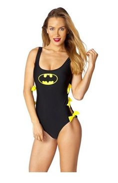Batman Batgirl Symbol Bow Tie One Piece Swimsuit DC Comics Licensed S-XL #DCComics #Monokini