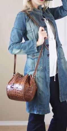 TANO CROC BUCKET BAG Brown Embossed Leather Drawstring Shoulder Crossbody Purse #Tano #Bucket
