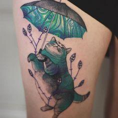 cute umbrellas How beautiful Tattoo Dotwork, Cat Tattoo, Get A Tattoo, Tattoo Drawings, Tatuajes Tattoos, 1000 Tattoos, New Tattoos, Body Art Tattoos, Cool Tattoos