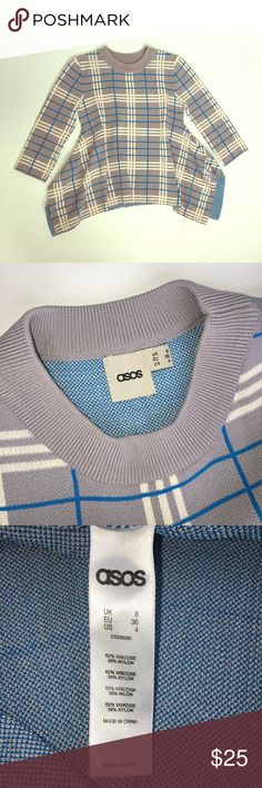 ASOS plaid hanky hem sweater Very cute NWOT ASOS hanky hem sweater with crew neck , 3/4 sleeve length. This go perfect with a jean and ankle boots for every day out ! ASOS Sweaters Crew & Scoop Necks