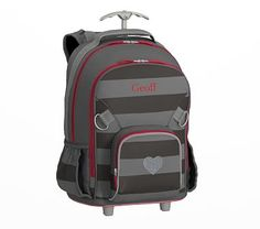 Fairfax Rolling Backpack Stripe Gray/Charcoal with Red Trim Glitter Heart