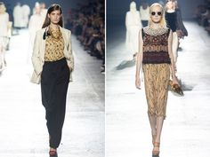 Wow. Dries Van Noten has swept me away to a glamourous world where utilitarian cottons and linens are gilded with gold, accented with Bedouin-inspired textiles, and adorned with pleated ruffles. The collection brought on a feeling of exploration and had me daydreaming of jetsetting to exotic