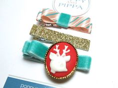 Funky Christmas Clip Set  Reindeer Hair Clip  by PoppyandPippa, $6.00