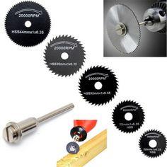 ZFE 5 Pcs HSS Lames de Scie Pour Le Métal Dremel Outil Rotatif Disques de coupe De Roue + 1 Mandrin Pour Proxxon Dremel Rotatif outils