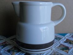 Vintage McCoy Stonecraft Cream and Brown Pitcher made in USA.  Great Home Decor or for a Vintage Collection.  Stonecraft line made in 1976. - pinned by pin4etsy.com