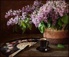 Lilac with fan and coffee by Paul Drevnytskyi