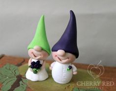 Gnome Cake Toppers - Custom Colors - Purple and green - Eggplant and apple green Wedding