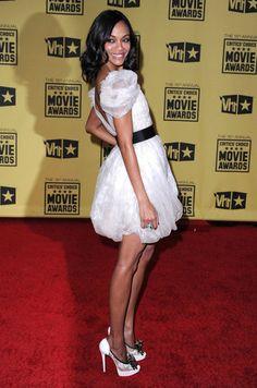#ZoeSaldana wore a #JasonWu frock to the 2010 Critics' Choice Awards. #fashion #celebrity