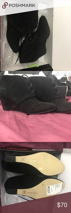 Booties Suede black wedge booties Shoes Ankle Boots & Booties