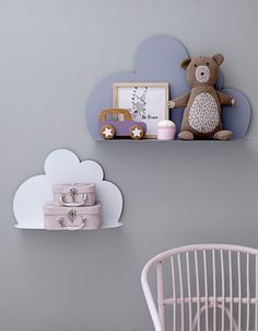 Cloud shelves. Nursery. Rose and Blue. ©Bloomingville