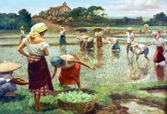 Planting rice by filipino painter Fernando Amorsolo