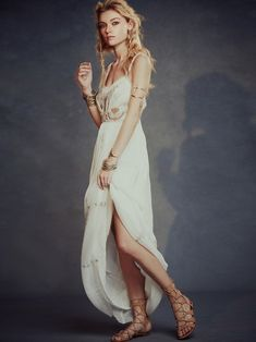 Free People White Artemis Embellished Embroidered Maxi Dress
