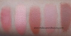 MAC peach Blush Swatches in l-r Melba, Style, Gingerly, Tenderling, Harmony