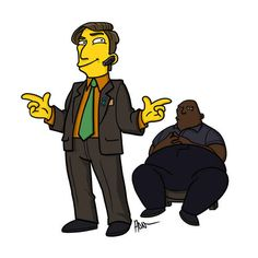 "Saul Goodman and Huell. | ""Breaking Bad"" Characters Drawn As ""The Simpsons"""