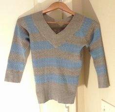 MIX IT V NECK LOW CUT FITTED RIBBED 3/4 SLEEVES GRAY/BLUE STRIPED SWEATER TOP S #MIXIT #VNeck #Casual