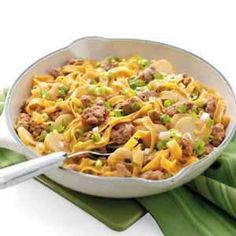Spicy Pork with Noodles-I have been making this recipe for years so easy. I usually add the entire 1b of ground pork.