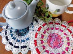 "Big pot mat , Kawaii pot mat , Colourful pot mat , Pot holder , Hot mat , Pot stand , Housewares , Kitchen , Handmade / 7.48""(19cm) - #p35 by YuminaCafe"