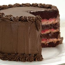 King Arthur Chocolate Mousse Cake with Raspberries  (but use a chocolate flour frosting)