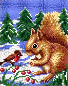 Meet the Snow Beaded Cross Stitch, Cross Stitch Patterns, Painting Templates, Bargello, Squirrels, Hama Beads, Pixel Art, Xmas, Embroidery