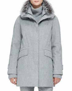 B2T1Q Loro Piana Cashmere Melange Storm Coat with Fox Fur Trim